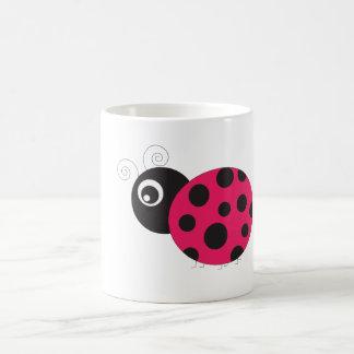 Pink and Black Ladybug Faded Coffee Mug