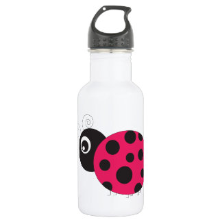 Pink and Black Ladybug Faded 18oz Water Bottle