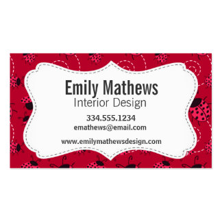 Pink and Black Ladybug Pattern Double-Sided Standard Business Cards (Pack Of 100)