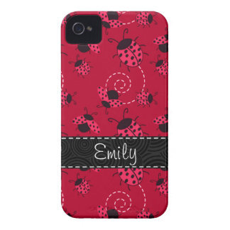 Pink and Black Ladybug Pattern iPhone 4 Cover