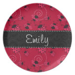 Pink and Black Ladybug Pattern Plate