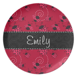 Pink and Black Ladybug Pattern Plate