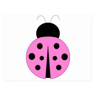 Pink and Black Ladybug Postcard