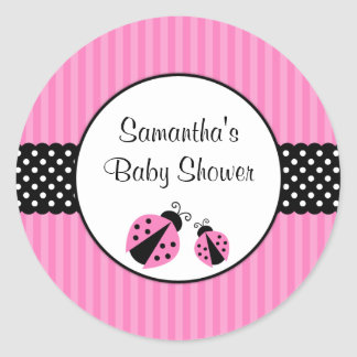 Pink and Black Ladybug Striped Dots Baby Shower Classic Round Sticker