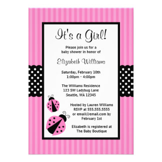Pink and Black Ladybug Striped Dots Baby Shower Custom Announcement