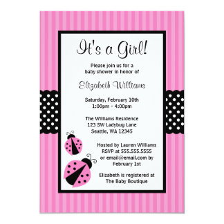 Pink and Black Ladybug Striped Dots Baby Shower 5x7 Paper Invitation Card