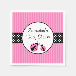 Pink and Black Ladybug Striped Dots Baby Shower Paper Napkin