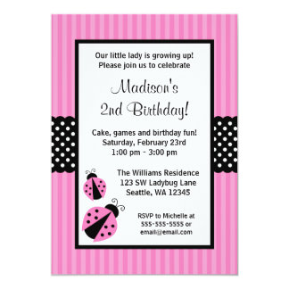 """Pink and Black Ladybug Striped Dots Birthday Party 5"""" X 7"""" Invitation Card"""