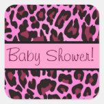 Pink and Black Leopard Baby Shower Sticker