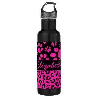 Pink and Black Leopard Print and Paws Personalized 24oz Water Bottle