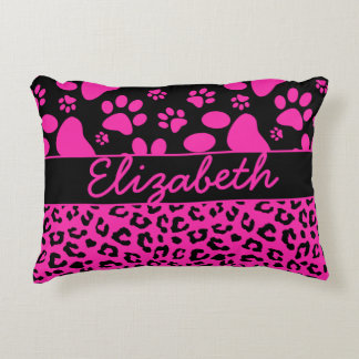 Pink and Black Leopard Print and Paws Personalized Accent Pillow