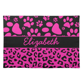 Pink and Black Leopard Print and Paws Personalized Cloth Placemat