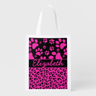 Pink and Black Leopard Print and Paws Personalized Grocery Bag