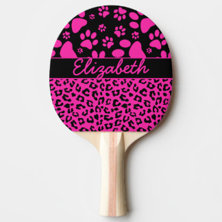 Pink and Black Leopard Print and Paws Personalized Ping-Pong Paddle