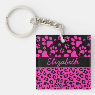 Pink and Black Leopard Print and Paws Personalized Keychain