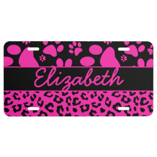 Pink and Black Leopard Print and Paws Personalized License Plate
