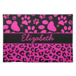 Pink and Black Leopard Print and Paws Personalized Place Mats