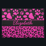 """Pink and Black Leopard Print and Paws Personalized Placemat<br><div class=""""desc"""">Leopard / Cheetah  Pattern print with paws of a dog / cat in Hot pink and black. Customize it and change the name to personalize it to your own. This design has been done in vector.</div>"""