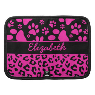Pink and Black Leopard Print and Paws Personalized Planner
