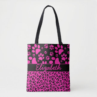 Pink and Black Leopard Print and Paws Personalized Tote Bag