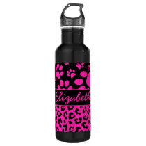 Pink and Black Leopard Print and Paws Personalized Water Bottle