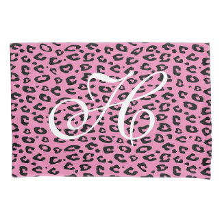 Pink and black leopard print monogram pillowcase
