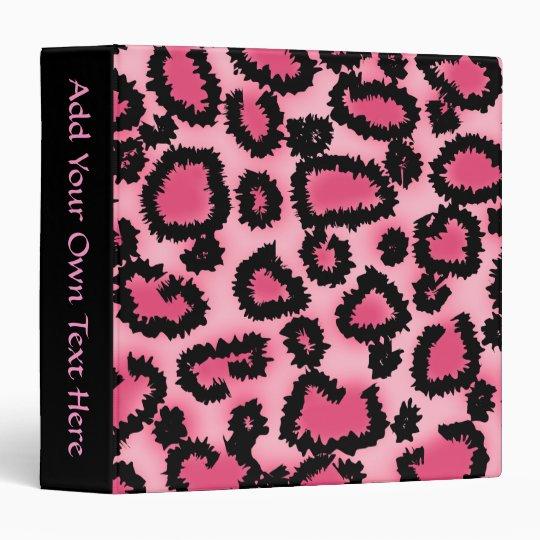 Pink and Black Leopard Print Pattern. 3 Ring Binder