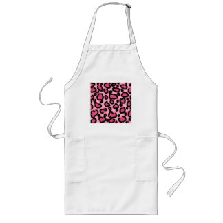 Pink and Black Leopard Print Pattern. Apron