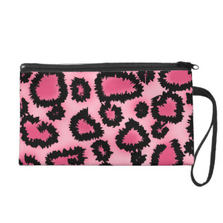 Pink and Black Leopard Print Pattern. Wristlet Purse