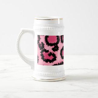 Pink and Black Leopard Print Pattern. Beer Stein