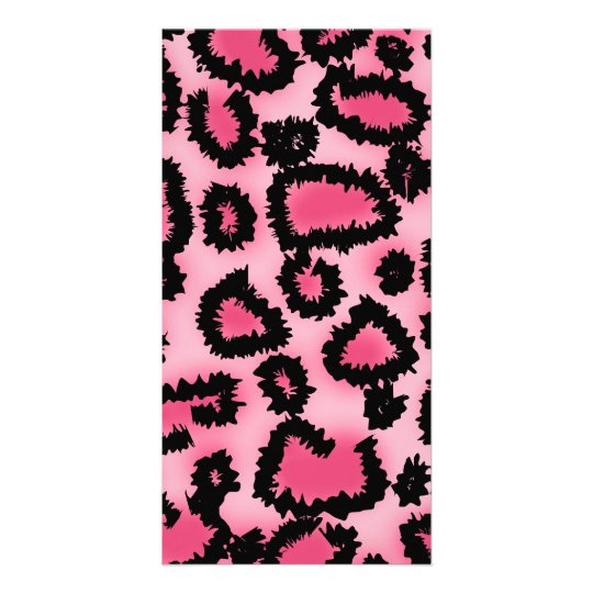 Pink and Black Leopard Print Pattern. Card