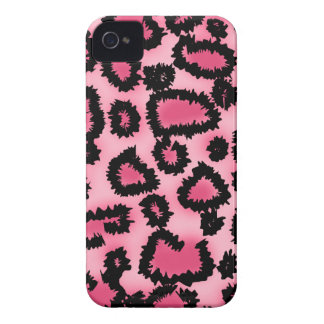 Pink and Black Leopard Print Pattern. iPhone 4 Case