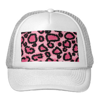 Pink and Black Leopard Print Pattern. Trucker Hats