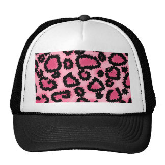 Pink and Black Leopard Print Pattern. Hats