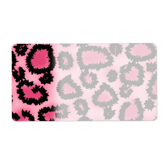 Pink and Black Leopard Print Pattern. Label