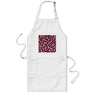 Pink and Black Leopard Print Pattern. Long Apron