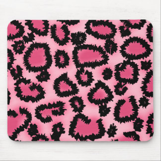 Pink and Black Leopard Print Pattern. Mouse Pad