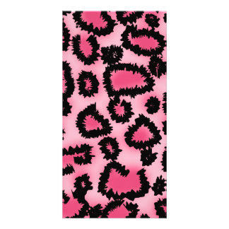 Pink and Black Leopard Print Pattern. Photo Card