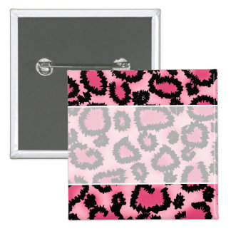 Pink and Black Leopard Print Pattern. Pinback Button