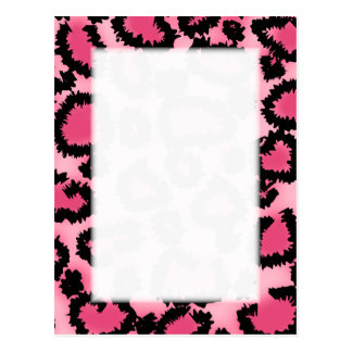 Pink and Black Leopard Print Pattern. Postcard