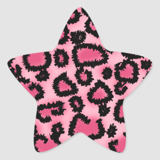 Pink and Black Leopard Print Pattern. Star Sticker