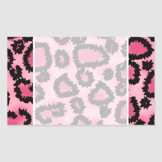 Pink and Black Leopard Print Pattern. Rectangular Sticker