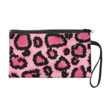 Pink and Black Leopard Print Pattern. Wristlet