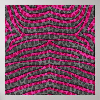 Pink and Black Leopard Print Zebra Stripes