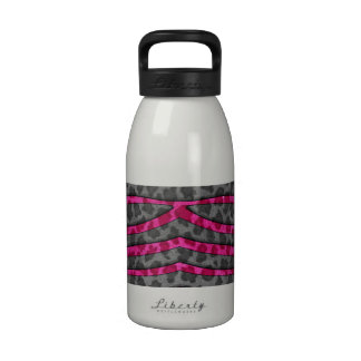 Pink and Black Leopard Print Zebra Stripes Drinking Bottle