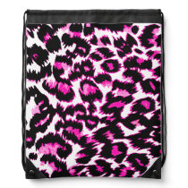 Pink and Black Leopard Spots Drawstring Bag