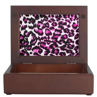 Pink and Black Leopard Spots Memory Box