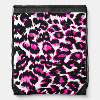 Pink and Black Leopard Spots Drawstring Backpacks