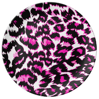 Pink and Black Leopard Spots Porcelain Plate