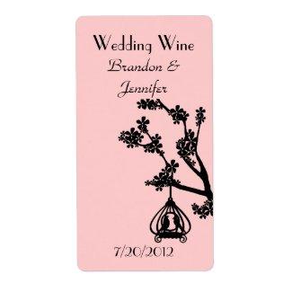 Pink and Black Love Birds Wedding Mini Wine Labels label